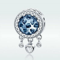 S925 Sterling Silver Charm Blue CZ Bead With Heart Tassel For Necklace Bracelet