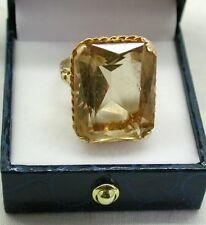 Impressive Heavy 10ct Gold And Massive 27ct Citrine Dress Ring Size M