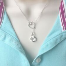 I Love Being Handcuff Handcrafted Silver Lariat Style Y Necklace.