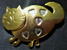 """EUC Gold Tone Cat Brooch, Body with Indented Hearts 2.12""""W x 1.50""""T"""