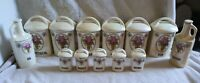 Vintage 13 Piece Canister Set-Made in Czechoslovakia-Roses w/Pearl Finish-RARE