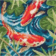 Needlepoint Kit  KOI POND Goldfish Dimensions