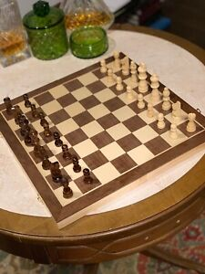 "Hand Crafted Wooden Portable Folding travel 15"" Board Chessboard Game Chess Set"