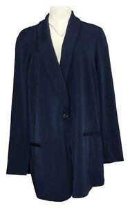 Susan Graver Women's Plus Sz Blazer 3X Bonded Liquid Knit Blazer Blue A382294