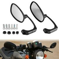 Motorcycle Black Oval Rearview Mirrors For Harley Sportster Touring Honda Suzuki