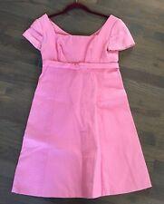 Vtg 60s LORRIE DEB Bubble Gum Pink Ribbed GoGo Mini MOD Dress XS S