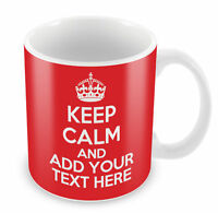 Personalised KEEP CALM & CARRY ON Mug Add your own Text coffee cup gift idea