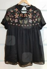 ZARA Plumetis Dotted Mesh Embroidered Floral Playsuit Romper Sz XS Boho Black