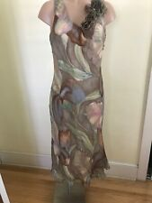 A.B.S.Evening By Allen Schwartz Womens 8 Silk Lined Watercolor Floral Dress