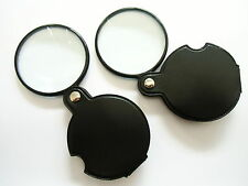 2 Slim reading pocket magnifying glasses 50mm 3x folding magnifier thin