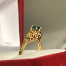Natural Emerald 18K Solid Yellow Gold  Ring - Women 2.7 Grams size  6 #