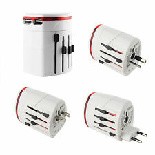 4in1 Perfect Worldwide Travel Adapter Charger US EU UK AU Plug With 2 USB White