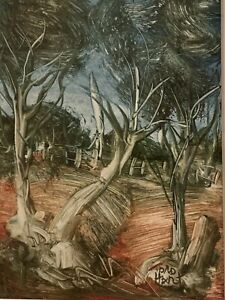 """Original Oil Kevin Charles (Pro) Hart Australian """"Gum Trees by the Fence""""Signed"""