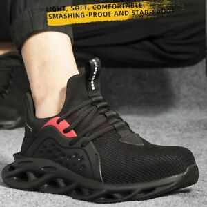 Mens Safety Shoes Steel Toe Lightweight Work Boots Hiking Outdoor Sneakers Shoes