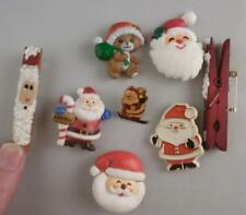 Vintage Lot of 8 Christmas Tree Santa Claus Pins Hallmark Teddy Bear Russ