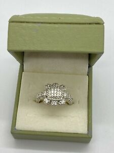 Judith Ripka Sterling Silver Square CZ Pave Ring SZ 10