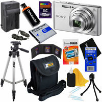 Sony DSC-W830 20MP Digital Camera w/8x Zoom,Silver + Battery & Charger +32GB Kit