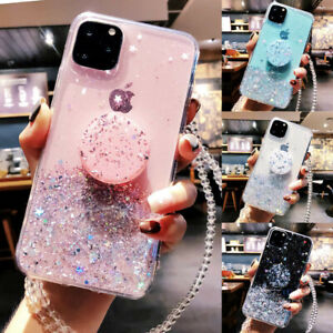 For iPhone 12 11 Pro Max X XS XR 8 7 6 Plus SE Glitter Silicone Phone Case Cover