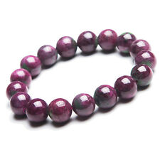 12mm AAA Genuine Red Natural Ruby Zoisite Gemstone Bracelet Stretch Beads