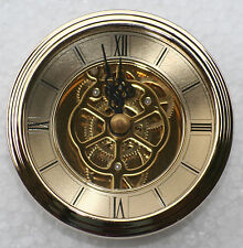 Skeleton Clock 80mm diameter quartz insertion, brass finish.