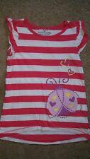 girls short sleeve top by faded glory white & pink stripe w/  ladybug size 7 EUC