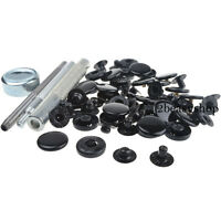 15mm x30 Black Glossy Press Studs Kit Snap Popper Fastener Sewing Leather Button