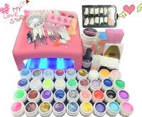 UV 36W lamp light Acrylic Glitter Nail Art Pen Brush UV Gel Powder Set Kit Tips