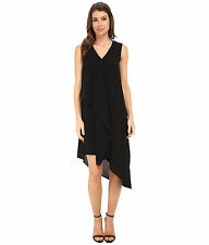 Adrianna Papell ruffle front Asymmetrical Drape 8 Black dress $140