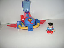Fisher Price TRIO SUPER FRIENDS T4448 SUPERMAN & SPACE SLED Set Lot Blocks
