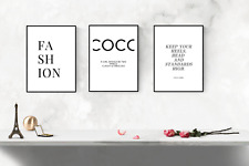 Fashion set of 3 Dressing room prints -  quote prints  - wall art pictures