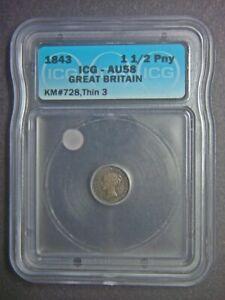1843 Great Britain 1-1/2 penny - silver - ICG-AU58