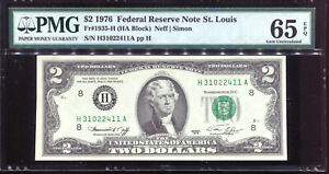 1976 $2 Federal Reserve Note St. Louis #H31022411A PMG 65EPQ