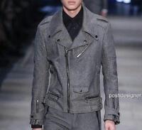DIESEL Black Gold Grey Heringbone Wool Biker Jacket IT50 Perfect Gift