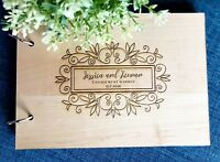 "Personalised ""Floral"" Wedding / Engagement (Customise Wooden) Guest Book"