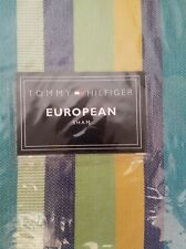 New Tommy Hilfiger Dharma Green Teal Yellow Navy Striped Euro Pillow Sham