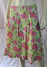 Liz Claiborne Skirt 12 Cotton Pleat Floral Lined Side Zip Grosgrain Ribbon Trim