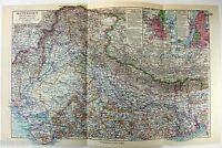 Original 1928 German Map of Northern India by Meyers. Vintage