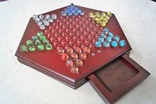 """Chinese Checkers 12"""" Wooden Chessboard Classic Marbles Family Game Set"""