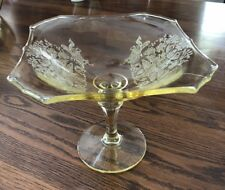 Gothic Garden depression glass compote. Paden City Glass Co