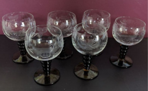 Vintage Roemer Bubble Stem Wine Glass 6pc Set Green Stem