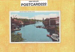 CT Norwalk 1908-29 antique postcard RIVER & BOAT DOCKS Connecticut