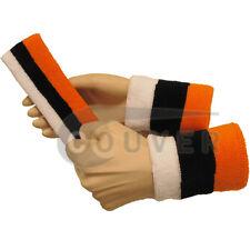 Couver Orange Black White Striped Headband Wristband Set