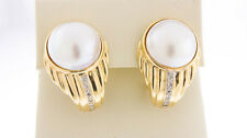 14K Yellow Gold Women's Natural Mabe Pearl & White Diamonds Omega Clasp Earrings