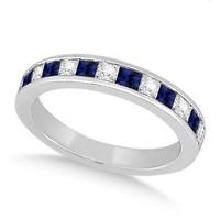 Women 925 Silver Jewelry Blue & White Sapphire Elegant Wedding Ring Size 6-10