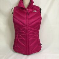 The North Face Womens Down Fill Puffer Vest Jacket Pink Zip Up Collared S New