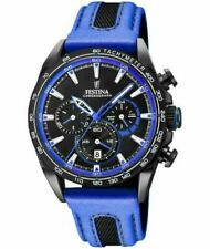 New Festina Mens Black PVD Plated Chrono Leather Strap F20351/2 Watch