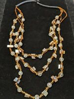 Artisan Mother Of Pearl Shell Glass Bead Multi Strand Statement Bib Necklace