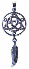Large DREAM CATCHER PENDANT 925 Sterling SILVER 65mm drop : Trinity Knot