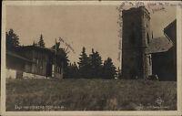 Berg Žalý Heidelberg Riesengebirge s/w AK ~1920/30 Partie am Turm Berghütte