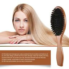 Natural Boar Bristle Oval Hair Brush Comb Scalp Massage Beech Wooden Handle Comb